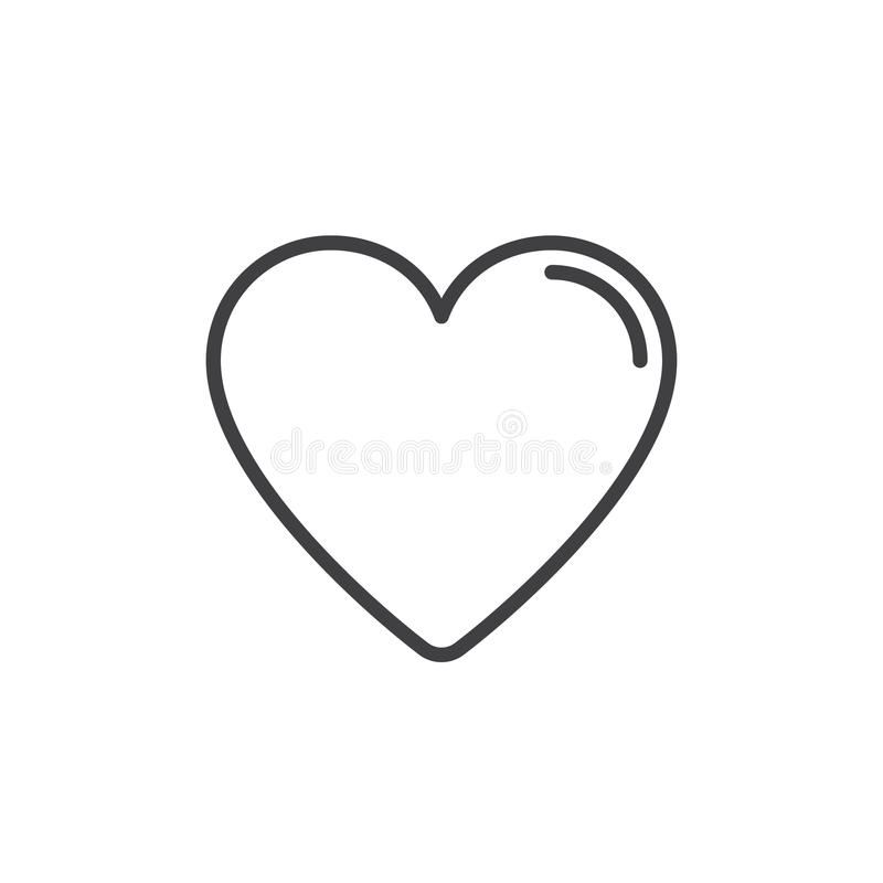 Serce, faworyt kreskowa ikona, konturu wektoru znak, liniowy stylowy piktogram odizolowywający na bielu ilustracji