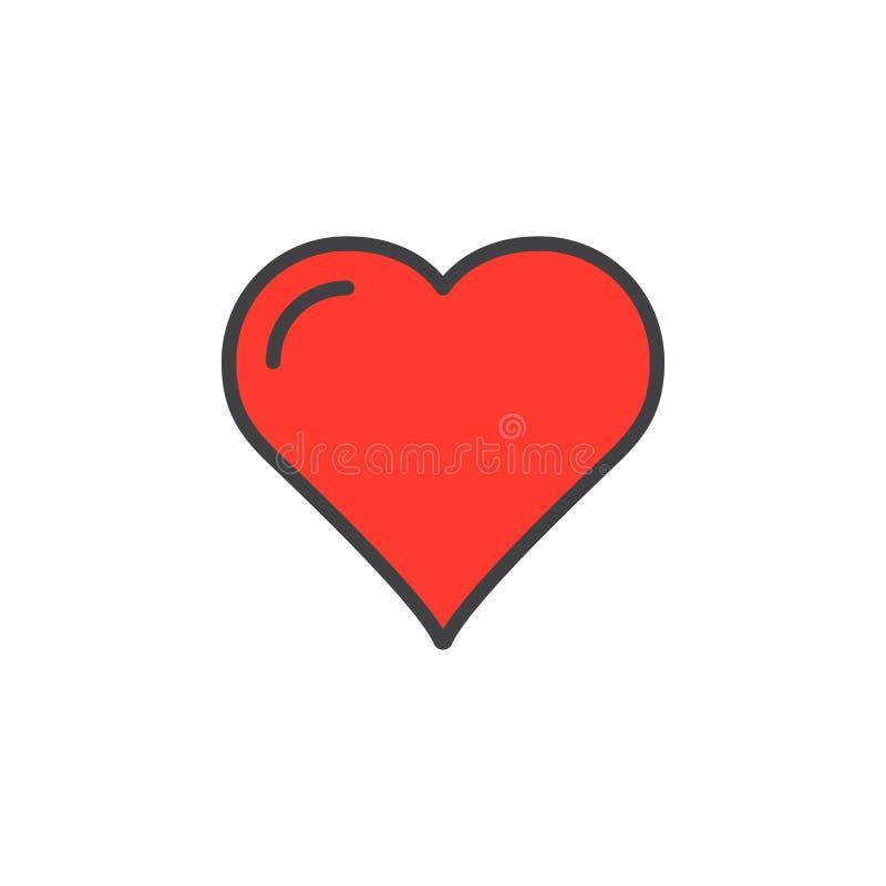 Serce, faworyt kreskowa ikona, wypełniający konturu wektoru znak, liniowy kolorowy piktogram odizolowywający na bielu royalty ilustracja
