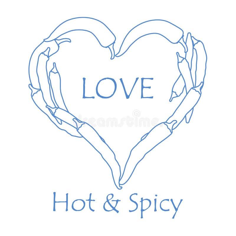 Serce gorący chili pieprze kredek dzień kobiety cztery ręk serc s valentine royalty ilustracja