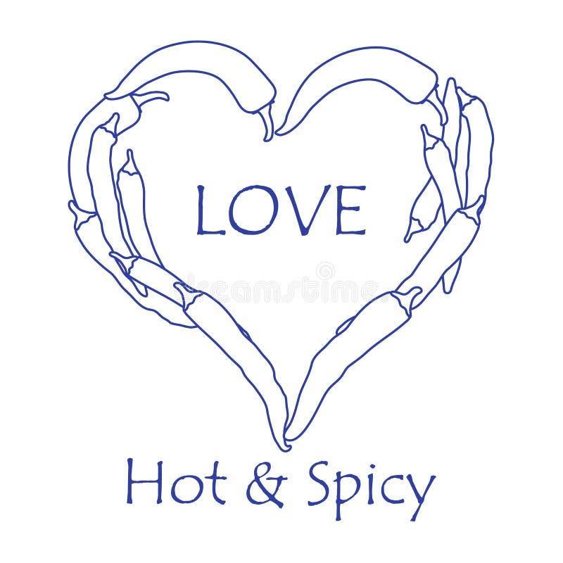 Serce gorący chili pieprze kredek dzień kobiety cztery ręk serc s valentine ilustracja wektor