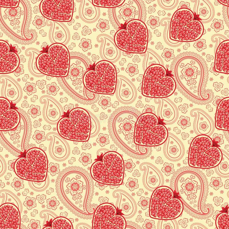 Serce granatowiec owoc i Paisley.Seamless wzór ilustracja wektor