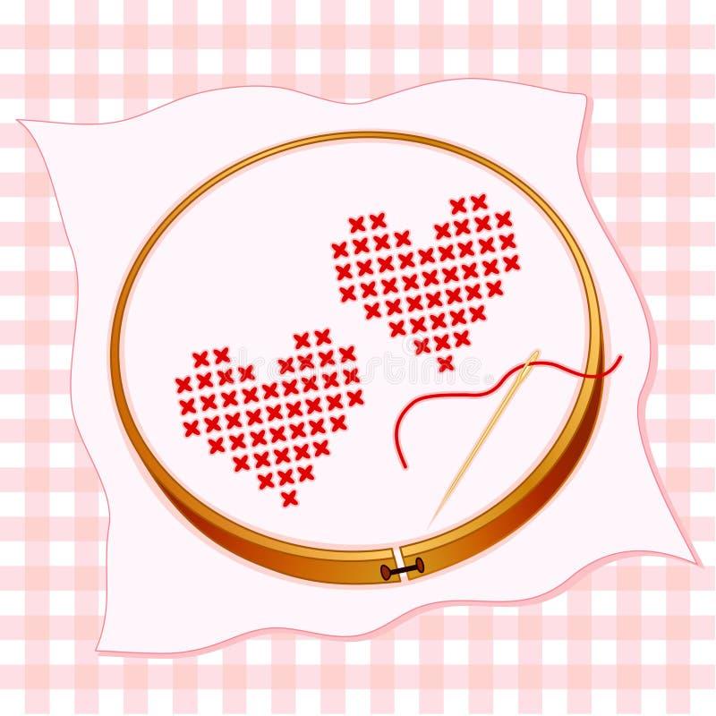 serce hafciarska czerwień dwa royalty ilustracja