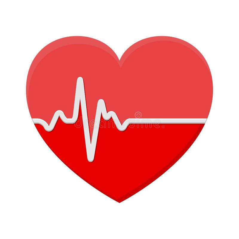 Serce i ECG - EKG sygnał, Kierowego rytmu pulsu linii pojęcia desig royalty ilustracja