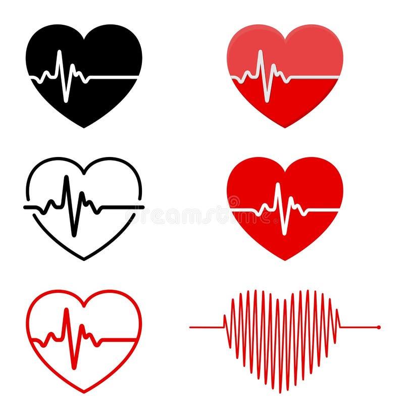 Serce i ECG - EKG sygnału set, Kierowego rytmu pulsu linii pojęcia d royalty ilustracja