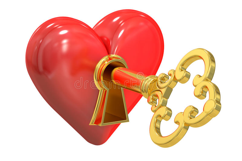 Serce i klucz, 3D rendering ilustracji