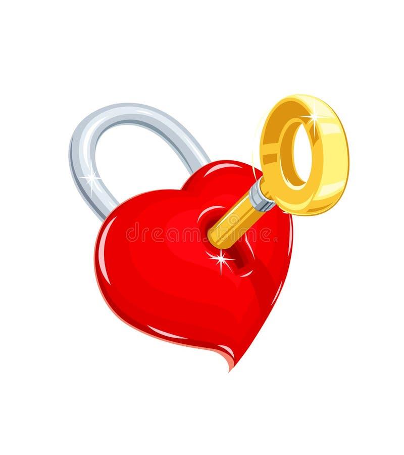 Serce i klucz Symbol miłość dla świątobliwego walentynka dnia ilustracja wektor