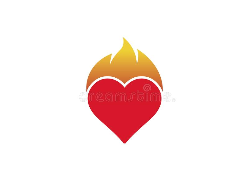Serce i ogień dla logo projekta royalty ilustracja