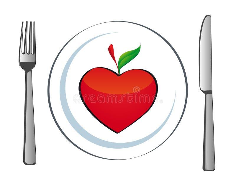 serce jabłczany talerz ilustracja wektor