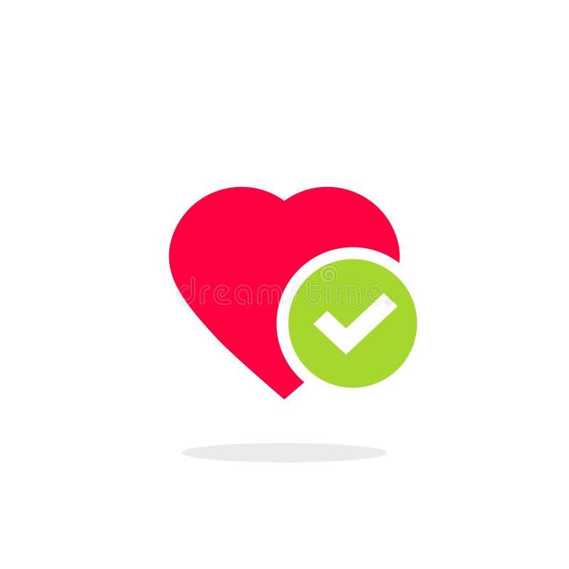 Serce kleszczowej ikony wektorowa ilustracja, płaskiej kreskówki zdrowy serce z checkmark symbolem, pomysł potwierdzający lub zat ilustracji