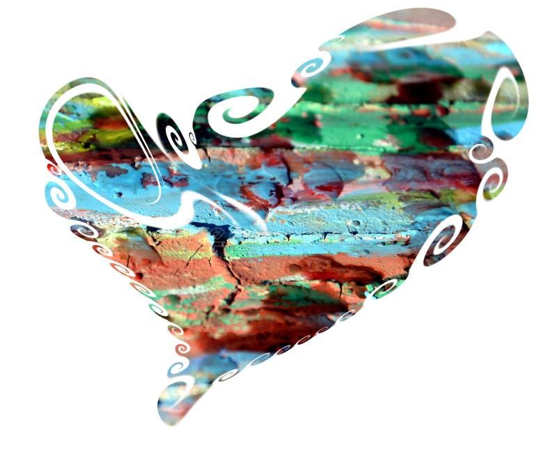 Serce Kolorowy odosobniony serce w farba kolorów projekcie ilustracja wektor