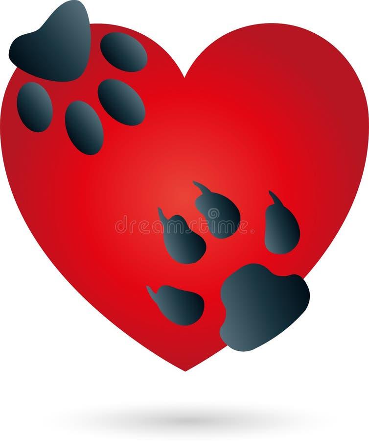 Serce, kot, pies, łapy, logo royalty ilustracja