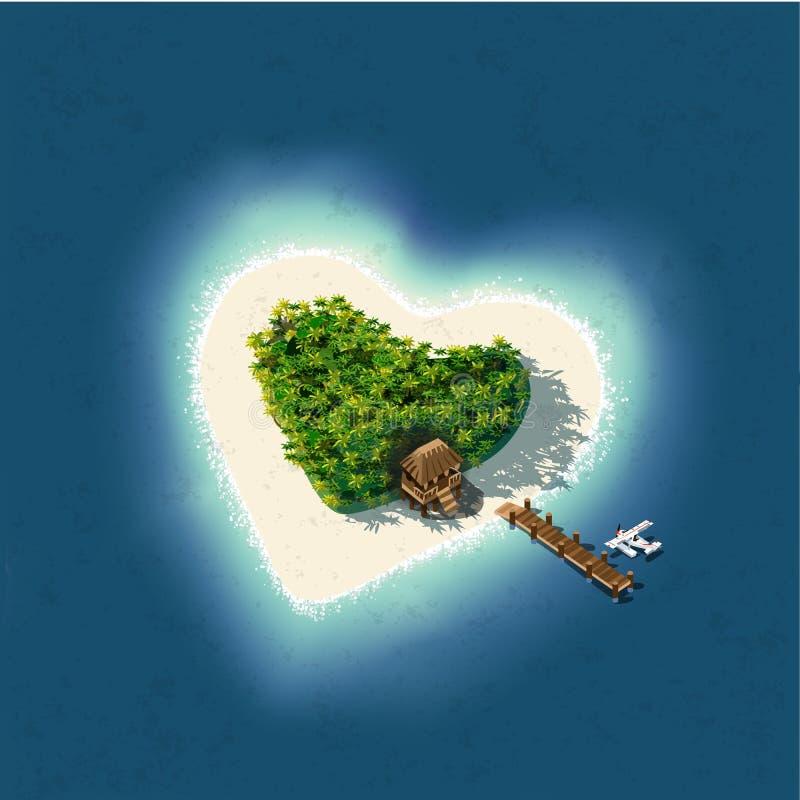 Serce Kształtna Tropikalna wyspa dla Romantycznego wakacje royalty ilustracja