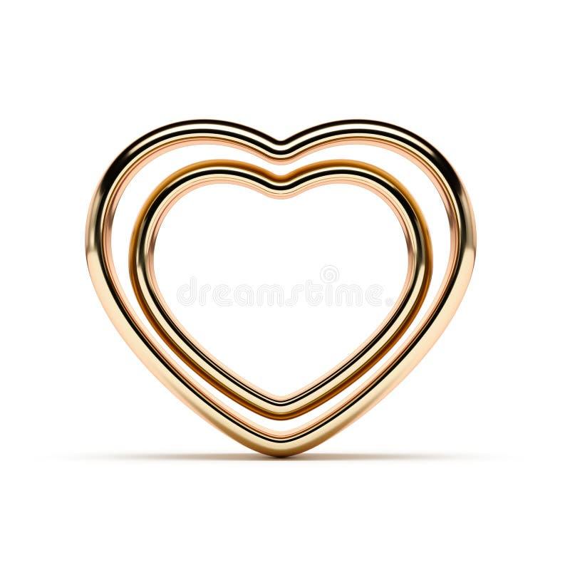 Serce kształtni złoci pierścionki royalty ilustracja
