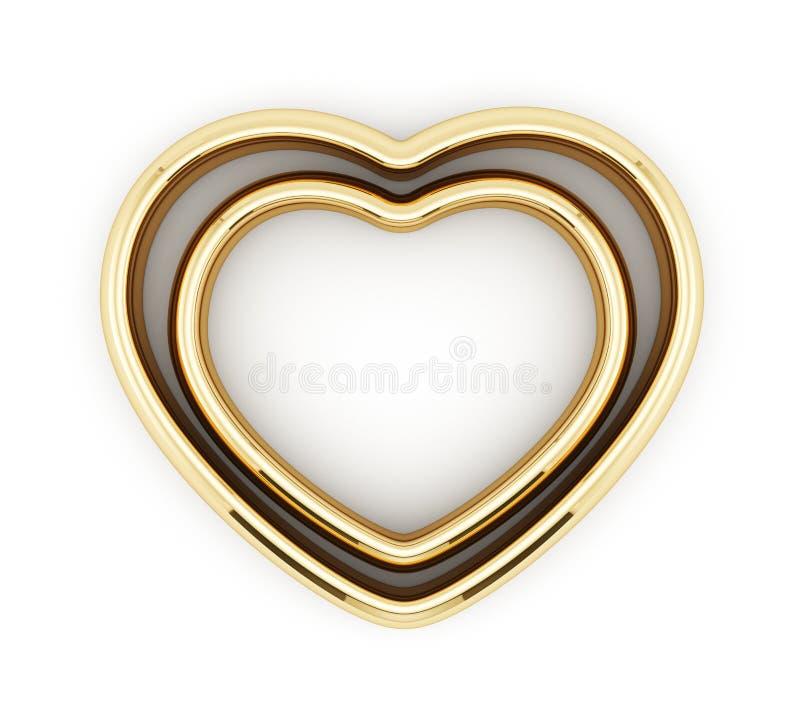 Serce kształtni złoci pierścionki ilustracji