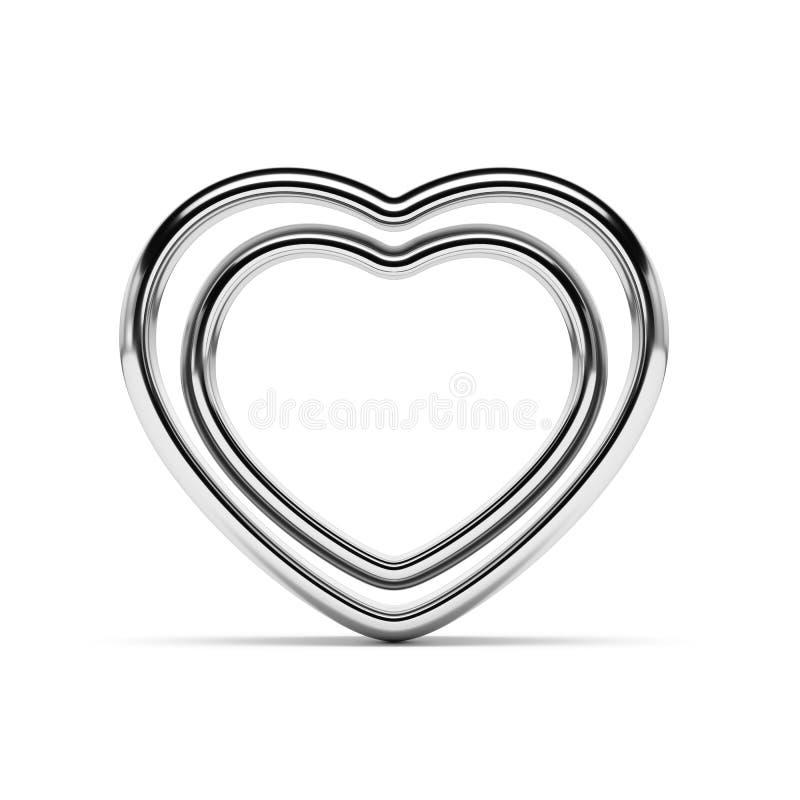 Serce kształtni złoci pierścionki odizolowywający ilustracji