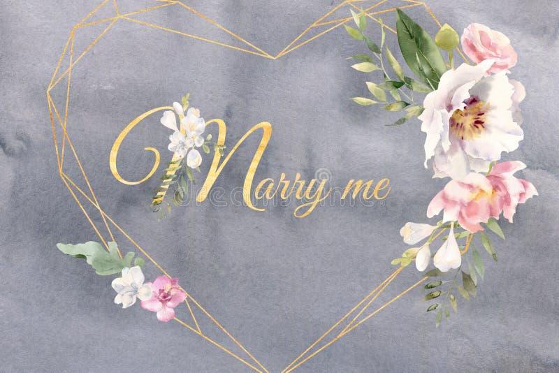 Serce kształtować złote ramy z poślubiają ja tekst akwareli kwiaty obraz royalty free