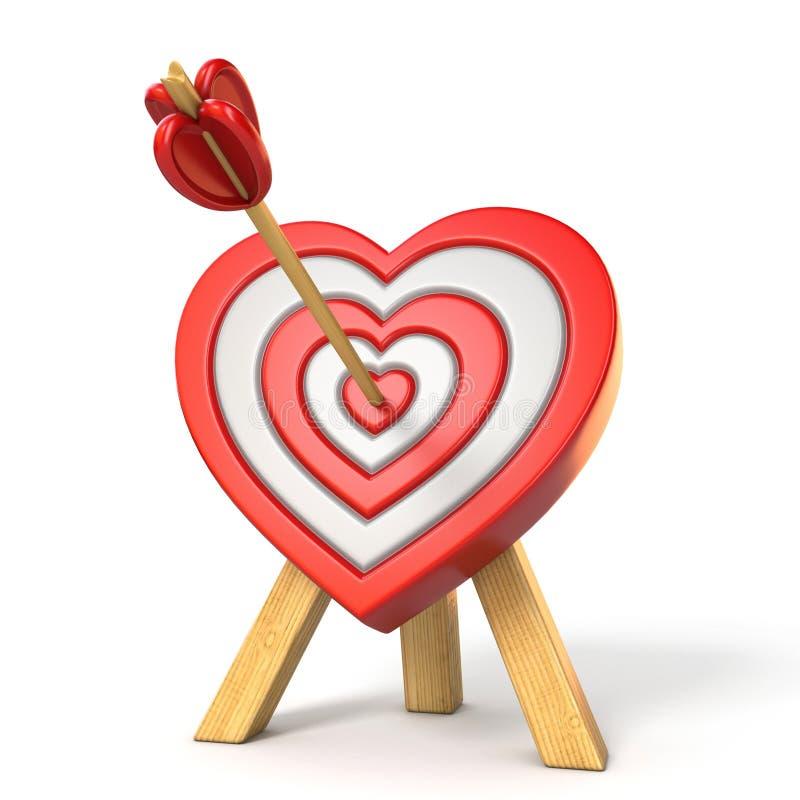 Serce kształtował cel z strzała w centrum 3D ilustracja wektor