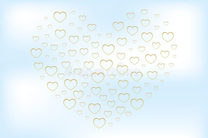 Serce kształtował złotymi sercami w zamazanym skutku na chmurnym niebie royalty ilustracja