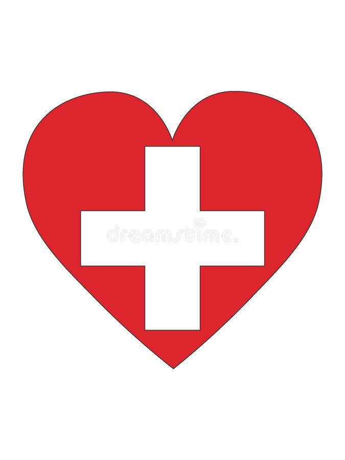 Serce Kształtująca flaga Szwajcaria ilustracji