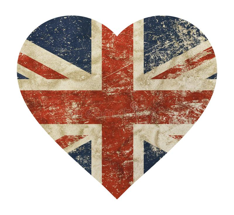 Serce kształtująca grunge rocznika Brytania UK Wielka flaga royalty ilustracja