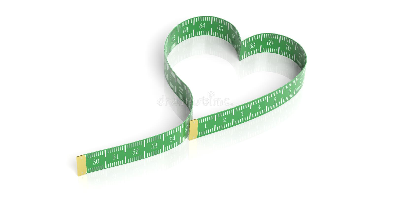 Serce kształtująca miara taśmy ilustracja 3 d ilustracji
