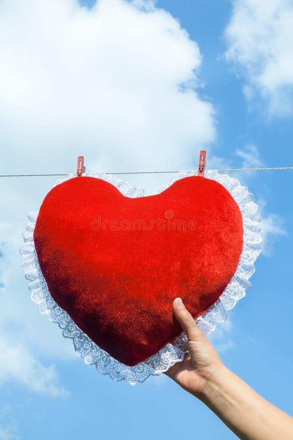 Serce kształtująca poduszka przymocowywał z odzieżowych czopy obrazy royalty free