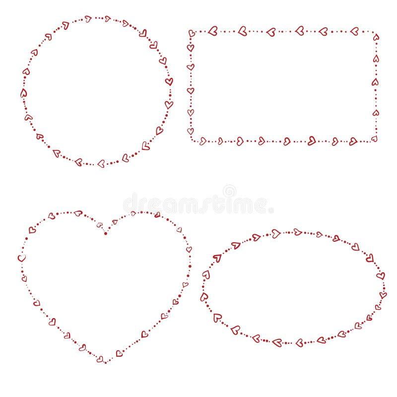 4 serce kształtującej koralik ramy royalty ilustracja