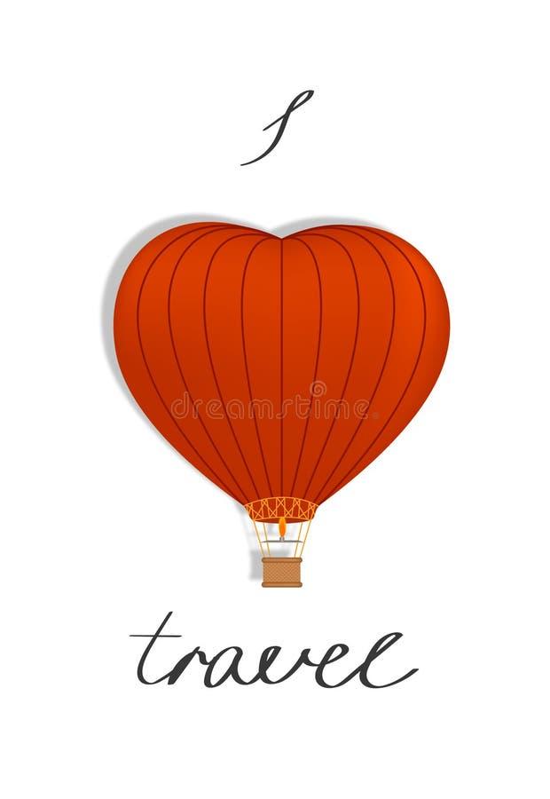 Serce kształtujący balon z inskrypcją wektor royalty ilustracja