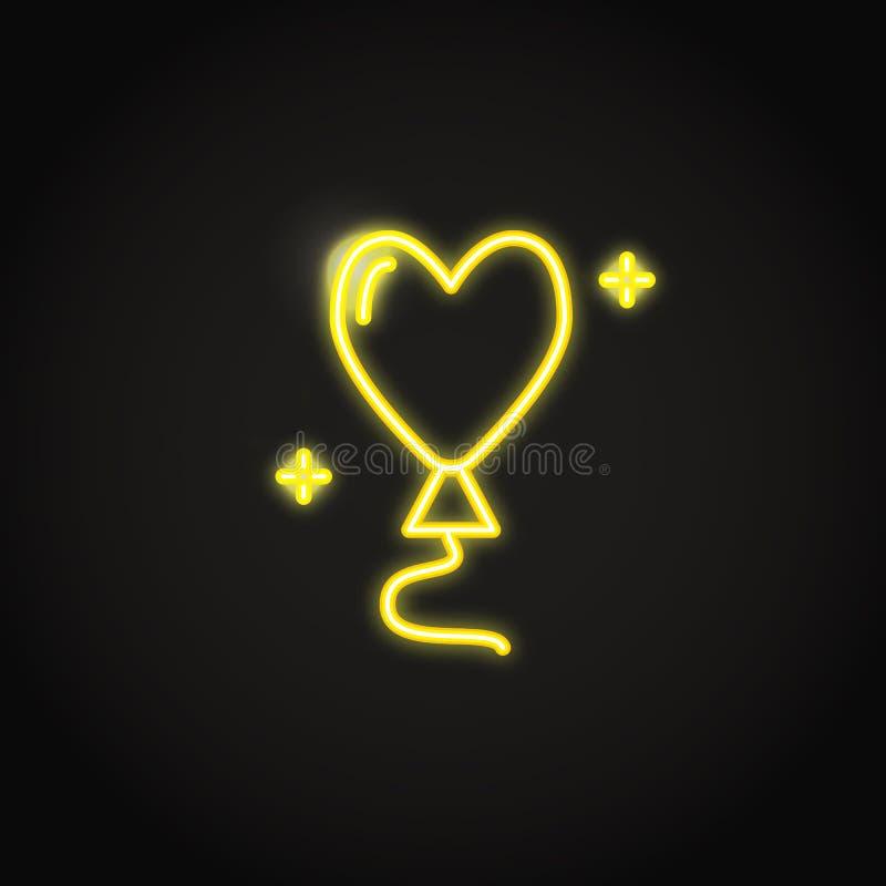 Serce kształtujący balonowy rozjarzony żółty neonowy znak ilustracji
