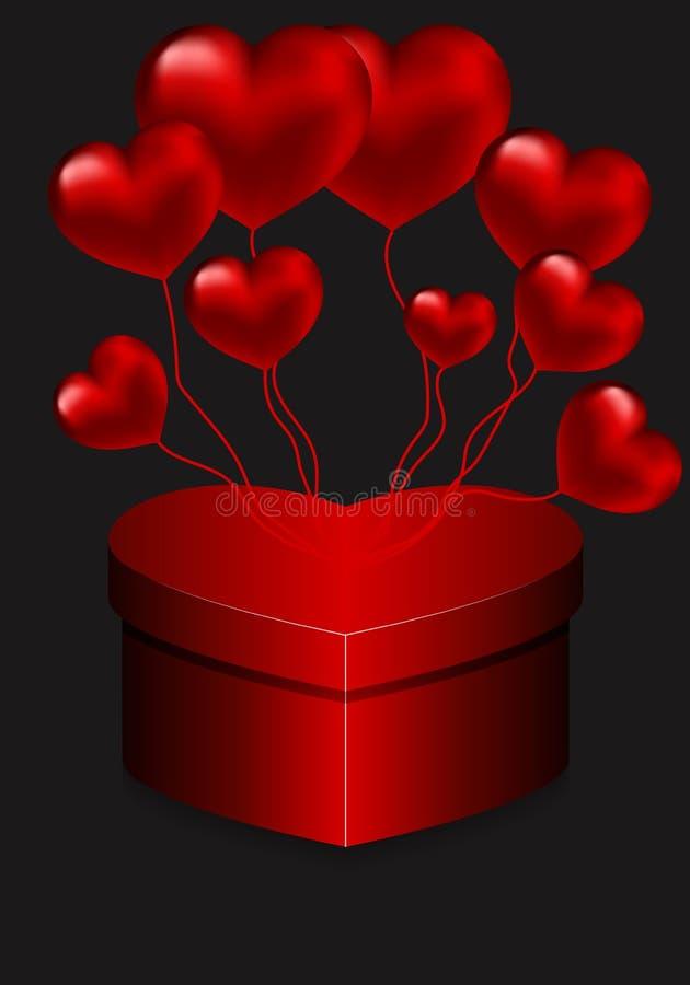 Serce kształtujący balony i pudełko ilustracji