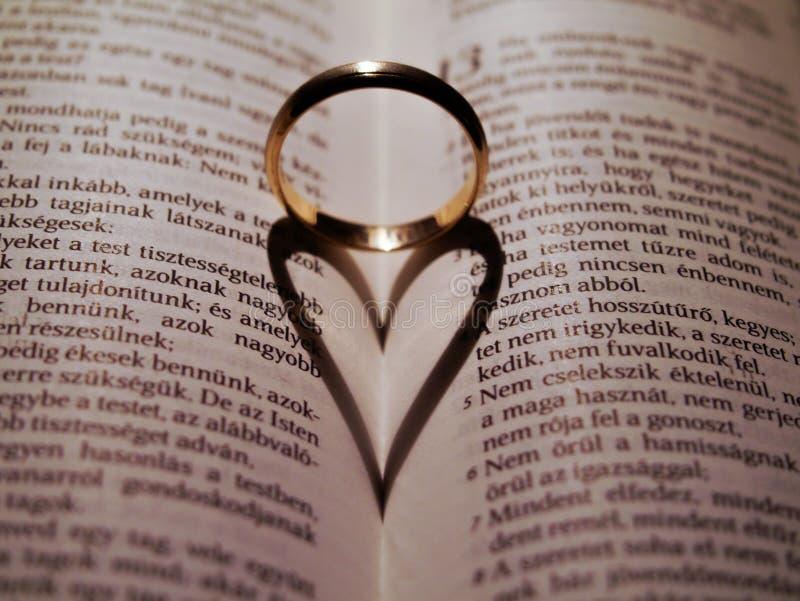 Serce kształtujący cień na biblii obrazy stock