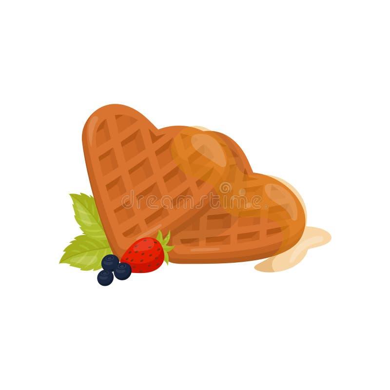 Serce kształtujący gofry z miodem, dojrzałą truskawką, czarną jagodą i zielonymi nowymi liśćmi, Płaski wektorowy element dla cuki royalty ilustracja