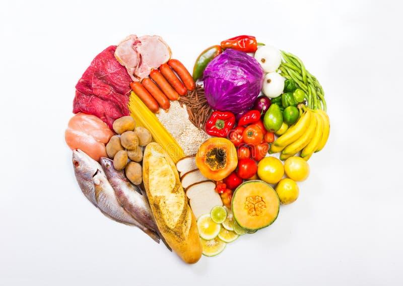Serce kształtujący pokaz foods fotografia stock