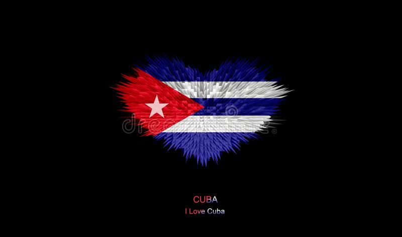 Serce Kuba flaga ilustracji