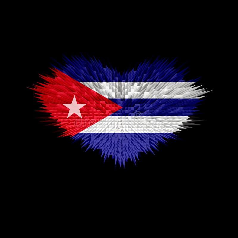 Serce Kuba flaga ilustracja wektor