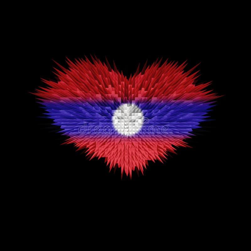 Serce Laos flaga ilustracja wektor