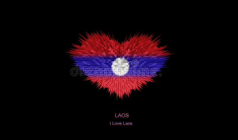 Serce Laos flaga royalty ilustracja