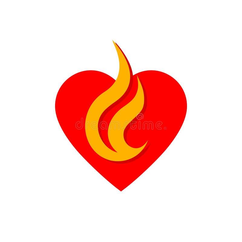 Serce logo projekta Pożarniczy pojęcie, serce i płomień ikona, ilustracji