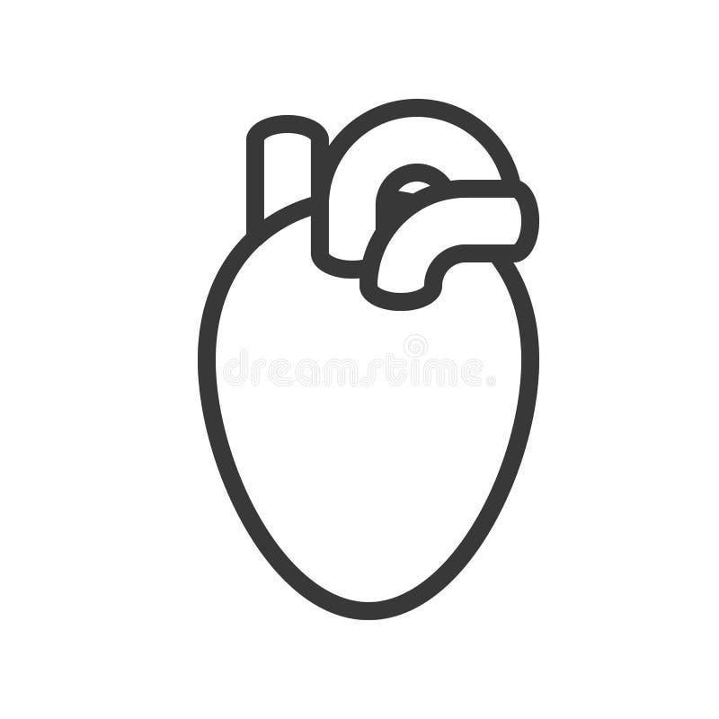 Serce, ludzki organ odnosić sie konturu wektoru ikonę royalty ilustracja
