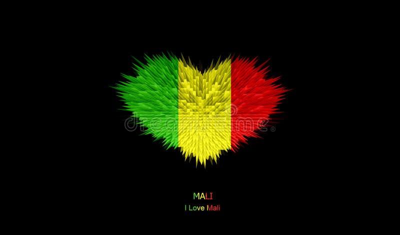 Serce Mali flaga ilustracji