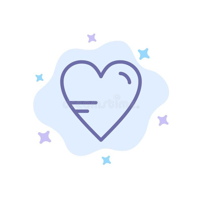 Serce, miłość, nauka, edukacji Błękitna ikona na abstrakt chmury tle ilustracja wektor
