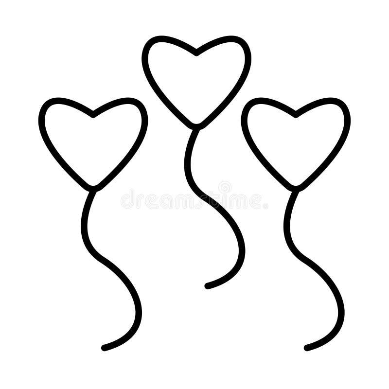 Serce miłości balonowa gorąca ikona ilustracji
