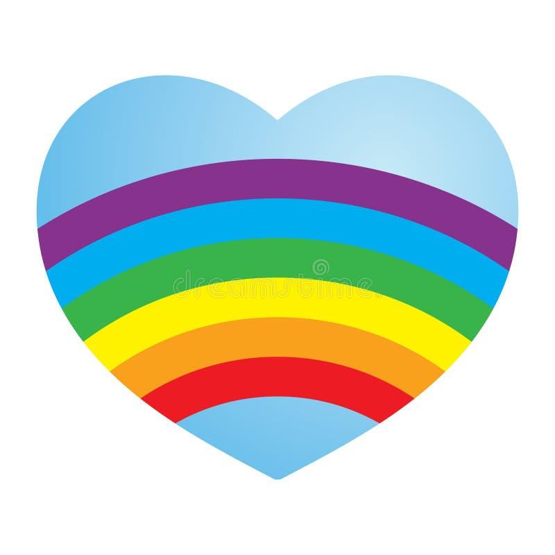 serce miłości lesbijek gejem tęczową walentynki ilustracja wektor