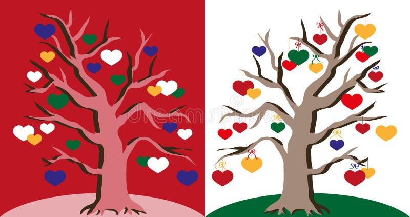 serce miłości symbolu drzewa ilustracyjny wektor ilustracji