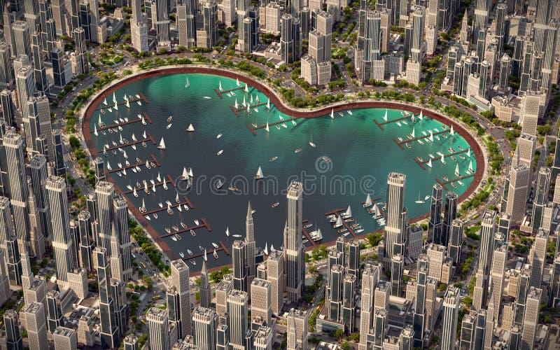 Serce miasto royalty ilustracja