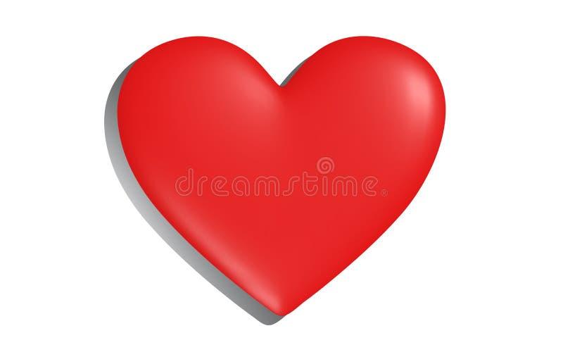 Serce na białym nawierzchniowym kastingu cień ilustracji