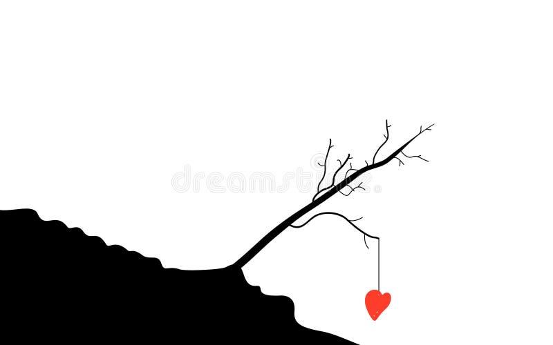Serce na drzewie obraz stock