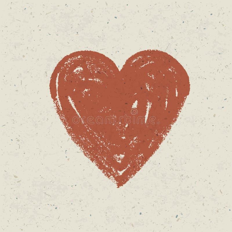 Serce na papierowej teksturze. ilustracji