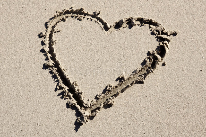 Serce na plaży zdjęcie royalty free