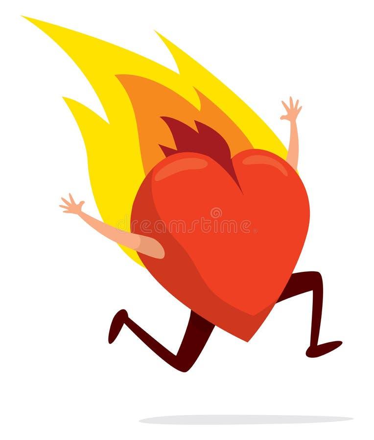 Serce na pożarniczym bieg desperacko ilustracja wektor